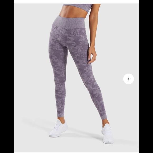 Gymshark Camo Seamless Lavender Grey Size Large Lightly Worn